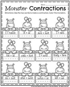 First Grade Worksheets First Grade Worksheets for October - Monster Contractions.First Grade Worksheets for October - Monster Contractions. First Grade Curriculum, 1st Grade Activities, First Grade Phonics, First Grade Worksheets, First Grade Reading, First Grade Classroom, Homeschooling First Grade, 2nd Grade Homework, 2nd Grade Grammar