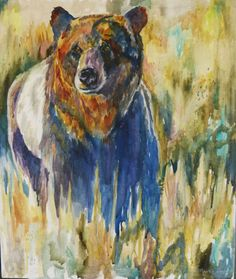 Original Large Watercolor Bear Painting on Canvas by by twopoots