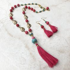Pink Quartzite, Turquiose and Gold Shell Tassel Necklace & Earrings - Danielle Fenning Designs