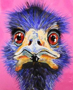 Buy Eric - The Kooky Emu, Acrylic painting by Julie Hollis on Artfinder. Discover thousands of other original paintings, prints, sculptures and photography from independent artists. Quirky Art, Weird Art, Acrylic Art, Acrylic Painting Canvas, Cartoon Drawings, Easy Drawings, Animal Paintings, Art Paintings, Original Paintings