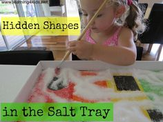 Fine Motor Activity for kids while learning shapes - Hidden Shapes in the Salt Tray Motor Activities, Sensory Activities, Craft Activities For Kids, Preschool Activities, Shape Activities, Sensory Bins, Sensory Table, Sensory Play, Kid Crafts