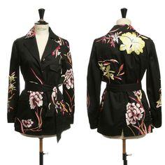 DRIES VAN NOTEN black oriental floral embroidered utliity jacket FR40 US8 UK12  #DriesVanNoten #Embroideredbeltedutlityjacket #Casual