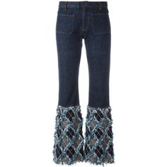 Pre-owned Jean Paul Gaultier Vintage frayed bottom flare jeans ($415) ❤ liked on Polyvore featuring jeans, blue, slim cut jeans, slim fit blue jeans, slim flare jeans, mid rise jeans and vintage jeans