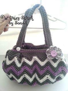Crochet Chasing Chevrons Hand Bag / Purse  by Whimsystitchbysarah, $30.00