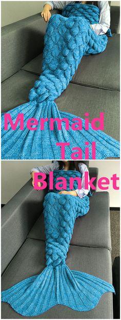 Crochet Knitting Fish Scales Design Mermaid Tail Style Blanket
