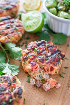 Salmon Burgers with Avocado Salsa by coooktoria: This tasty and easy Salmon Burger recipe is not to be missed! Ditch the bun and serve it with mouthwatering Avocado Salsa. #Salmon_Burger #Avocado_Salsa #Healthy #Easy
