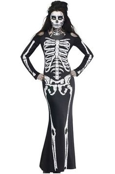 Halloween Skeleton Pring Bodysuit and Bodycon Dress Up: Amazon.ca: Home & Kitchen
