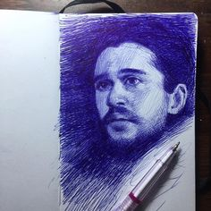 Jon Snow from of Game of Thrones. Moleskine Sketches of Celebrities and other Portraits. By Arthur Gain.