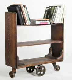 antique library cart on casters Vintage Bookcase, Vintage Library, Vintage Office, Small Furniture, Furniture Design, Furniture Ideas, Library Cart, Rustic Vintage Decor, Steampunk Furniture