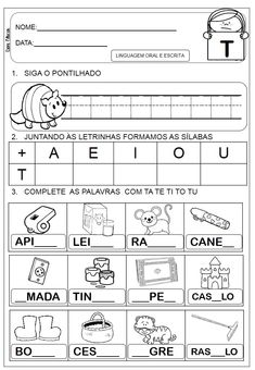 Atividades letra T - Danieducar Teaching, Math, Words, Pista, Reading Activities, Kids Activity Ideas, Letter T Activities, Abc Centers, Word Bingo