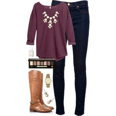 I would love this color top & the statement necklace to add to my closet, I have the rest to complete this look.