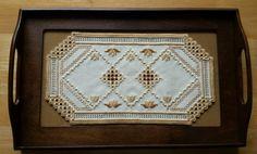 """Hardanger Doily & Sudberry House Needlework Tray Vtg  w/Glass 19 1/2"""" x 12 1/4""""  #SudberryHouse"""