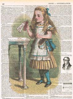 Alice in Wonderland Drink Me. Colour. Antique by studioflowerpower, $8.50