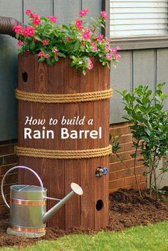 Schicke Regentonne | ganz einfach zum Selbermachen @hgtvgardens --> http://www.hgtvgardens.com/photos/how-to-make-a-rain-barrel?soc=pinterest
