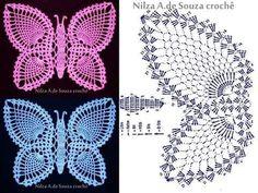 Cantinho da Jana: Gráfico de borboleta de crochê ♥️LCA-MRS♥️ with diagram.