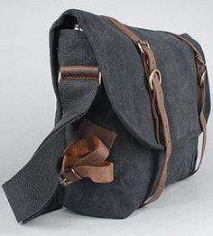 Large Vintage Army Messenger Bag Black Free US by FlamingoMaude, $49.00
