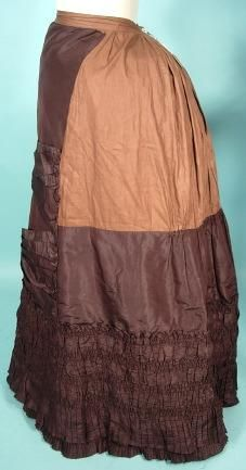 1882/1883 Chocolate Brown Bustle Gown Ensemble with Straw Bonnet!
