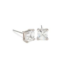 """Krystalin FELICITY STUDS $40   No jewelry box is complete without earrings as simply exquisite as Casandra. Prong set in silver, these square cut beauties are the perfect finisher to any ensemble.  - Silver tone metal, CZ's - 1/4"""" wide - Post back for pierced ears Item # KRY20001104"""