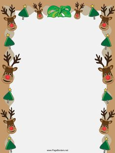 Reindeer and Trees Christmas Border Christmas Frames, Christmas Pictures, All Things Christmas, Christmas Holidays, Christmas Cards, Christmas Decorations, Christmas Ornaments, Christmas Bunting, Christmas Activities