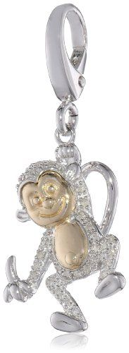 XPY Sterling Silver and 14k Yellow Gold Monkey and Diamond Charm $105.00 (65% OFF) + Free Shipping