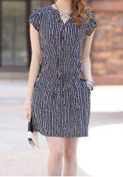 Vertical Stripe Casual V-Neck Single Breasted Short Sleeve Dress For Women - STRIPE 2XL Mobile