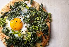 Egg-Topped Pita Pizza Recipe - Oprah.com I'm going to try something besides Swiss chard (not my favorite).