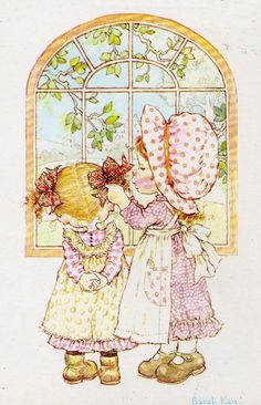 Sarah Kay: Big sister arranging the hair bows of her little sister Holly Hobbie, Anne Geddes, Vintage Cards, Vintage Postcards, Cute Images, Cute Pictures, Decoupage, Susan Wheeler, Sara Kay