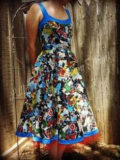 Avengers Dress. $200.00, via Etsy. Comic enthusiasts beware! This dress is amazing! Hulk, Captain America, Spiderman, Ironman.