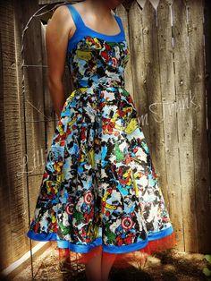 Avengers Dress. $200.00, via Etsy. Comic enthusiasts beware! This dress is amazing! Hulk, Captain America, Spiderman, Ironman.