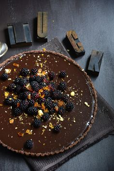 Dark Chocolate Tart with Blackberries and Hazelnut Praline | From The Kitchen