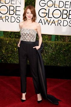 Golden Globes 2015: Emma Stone in a Lanvin jumpsuit. Click through to see all the red carpet pictures