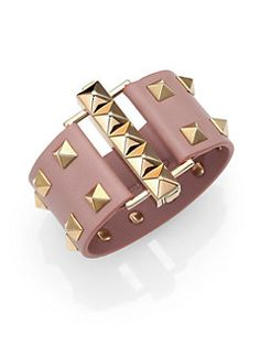 Valentino - Rockstud Wide Leather Cuff Bracelet