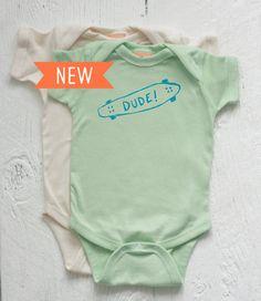Organic Baby Onesie The Skater Dude Newborn 6M by twiddleANDtweet, $25.00