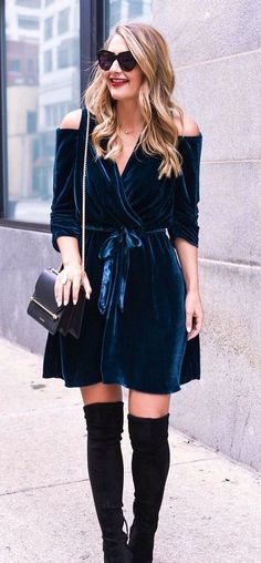#fall #outfits women's black cold shoulder dress; black suede thigh-high boots; black leather crossbody bag; black oversized sunglasses #kneehighbootsoutfit
