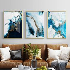 Nordic Abstract color spalsh blue golden canvas painting poster and print unique decor wall art pictures for living room bedroom - Abstract Canvas Wall Art - Ideas of Abstract Canvas Wall Art Framed Canvas Prints, Canvas Wall Art, Diy Canvas, Blue Canvas Art, Canvas Poster, Large Wall Art, Posca Art, Nordic Art, Abstract Wall Art