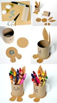 Upcycled Bunny Crayon Holders for the Easter kids' table! - Upcycled Bunny Crayon Holders for the Easter kids' table! Upcycled Bunny Crayon Holders for the E - Easter Crafts For Kids, Diy For Kids, Fun Crafts, Easter Dyi, Crafts Toddlers, Easter Decor, Easter Centerpiece, Decor Crafts, Easter Eggs