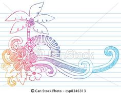Illustration about Summer Hibiscus and Palm Tree Tropical Beach Vacation Sketchy Notebook Doodles Vector Illustration on Lined Sketchbook Paper Background. Illustration of island, decorative, notepaper - 22852510 Doodle Drawings, Doodle Art, Zen Doodle, Notebook Doodles, School Murals, Silhouette Clip Art, Hawaiian Tattoo, Quilling Patterns, Floral Border