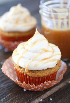 Brown Butter Pumpkin Cupcakes with Salted Caramel Frosting (www.twopeasandtheirpod.com) #recipe #pumpkin #cupcakes