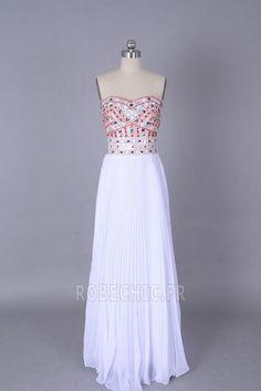 Robe de Bal Epurée semi-halter Blanc Chiffon Fourreau Avec Bijoux - Page 1
