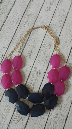 Navy Blue and Fuschia Chunky Statement Bib by ErinScottDesigns