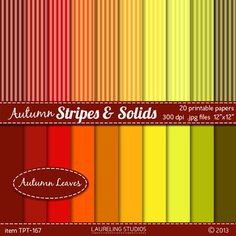 """fall digital paper:  """"autumn stripes and solids""""Digital paper with stripes and matching solids in vibrant autumn color palette.Digital papers can be printed out on your home printer or used digitally to design cards, bulletin board items, crafts, web or blog backgrounds."""