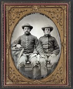 Pvt. Charles Chapman, Company A, 10th Virginia Cavalry (left) with Unidentified soldier(right).   Chapman is wearing rare Richmond Depot 2 jacket with two outside pockets.