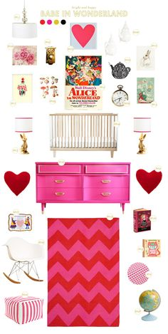 alice in wonderland baby room ideas - Under no circumstances would I use that much pink - but it is an awesome theme idea.