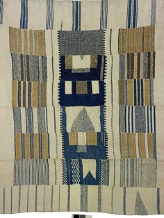 Detail: Kpokpoi cloth made of hand woven cotton; composed of eight narrow strips (approx 18cm wide) hand sewn together selvedge to selvedge creating...