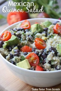 Mexican Quinoa Salad.  8 servings - 420 calories each.   15.7g protein 52.2g carbs 18.2g total fat