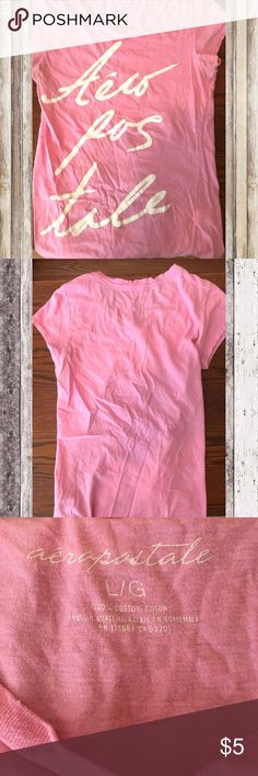 🌸Aeropostale Pink Graphic Shirt✨💫 💫💫Aeropostale Pink and White Graphic T-shirt .•. Size Large .•. Make an Offer.•. Good Condition .•. Bundle with my other Aeropostale Items 💫💫 Aeropostale Tops Tees - Short Sleeve