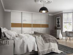 Premium Midi: 3 panel Fineline Pure White glass / Oak with Satin Silver frame