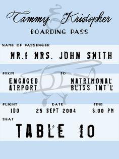 boarding pass escort cards