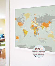 FRAMED World map, 24X36 Inches, World Travel, Honeymoon, Vacation Art, Travel Map, Push Pin Travel by TexturedINK on Etsy https://www.etsy.com/listing/167775445/framed-world-map-24x36-inches-world