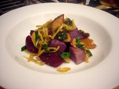 Adirondack blue potato and beet salad, with shiitake mushrooms and scallion-ginger relish by Stash41NYC, via Flickr